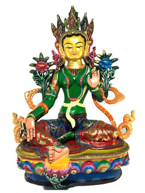 Statue of Green Tara Thangka Color finishing