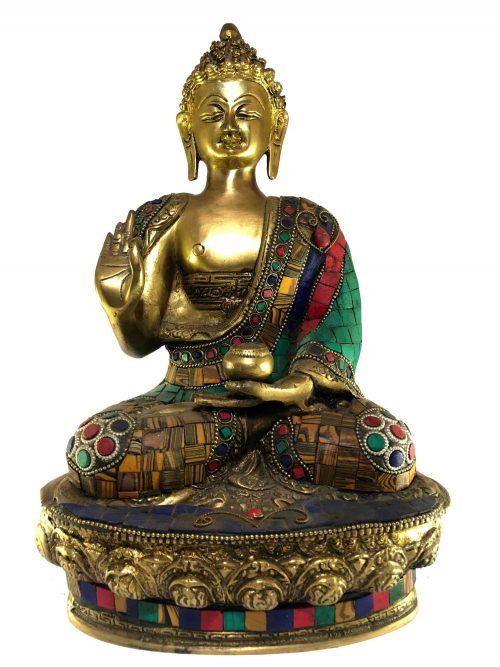 Statue of Blessing Buddha with Stone Setting