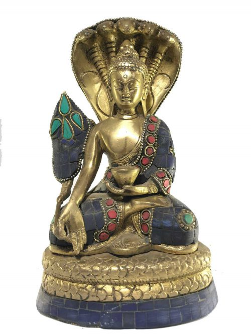 Statue of Medicine Buddha On Snake Throne with Stone Setting