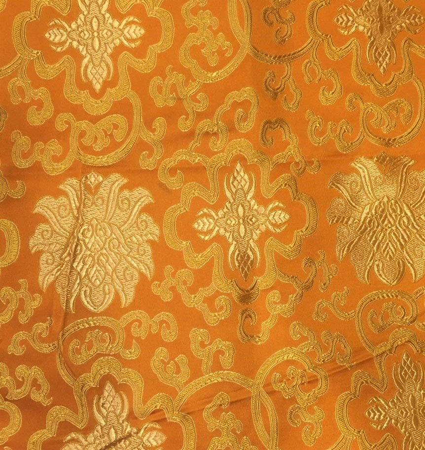 Silk Brocade Orange Lotus Design