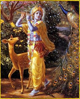 Krishna is a form of the Hindu god Vishnu. Krishna almost always appears youthful and blue in color, surrounded by adoring girls.