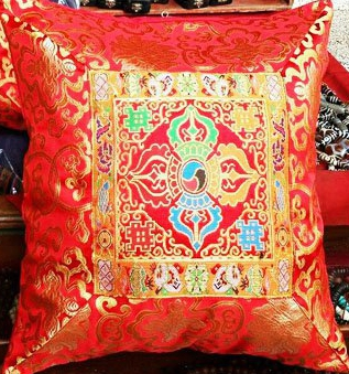 Red Silk Brocade Cushion Cover with Double Dorje