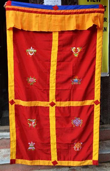 Red Silk Curtain with 8 Auspicious symbols