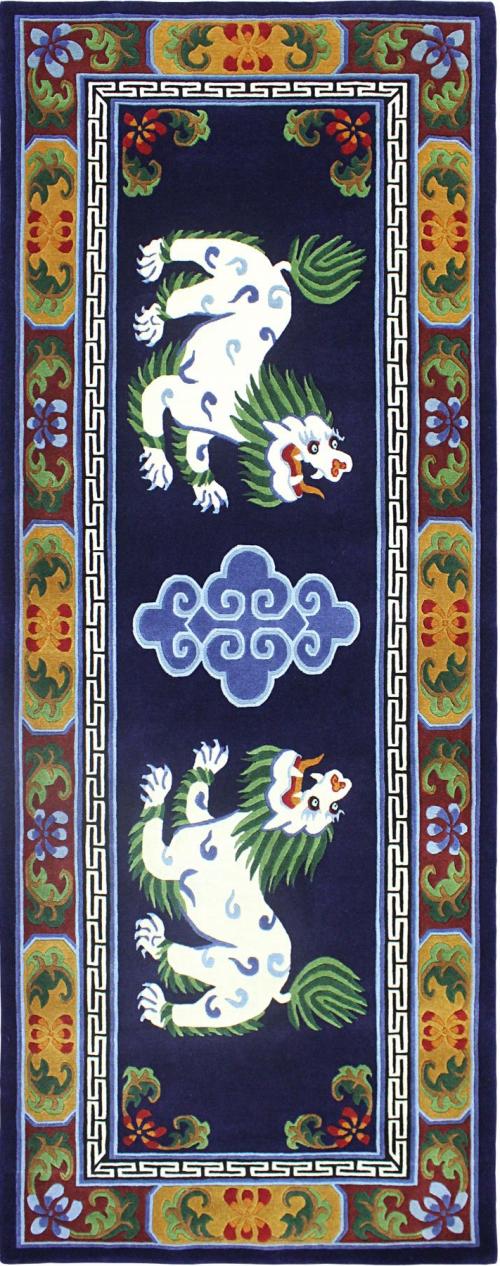 Tibetan Rug with Snow Lion Design
