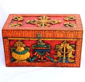 Tibetan Treasure Box with Astamangal & Double Dorje Carved