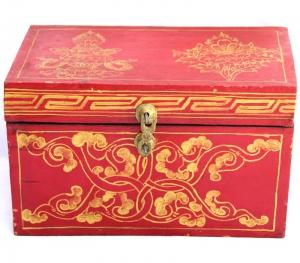 Tibetan Treasure Box with Vase and Flowers