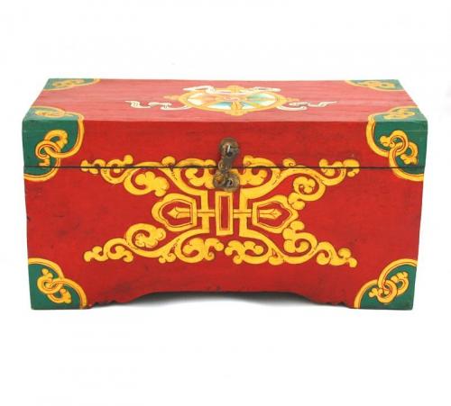Tibetan Treasure box with Dharmachakra and parasol