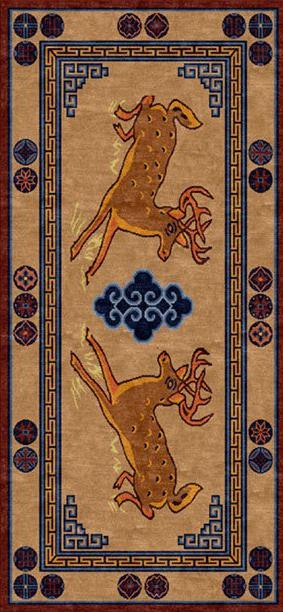 Tibetan Carpet with Deer Design