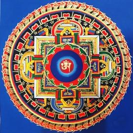 Om Mandala with Blue Background