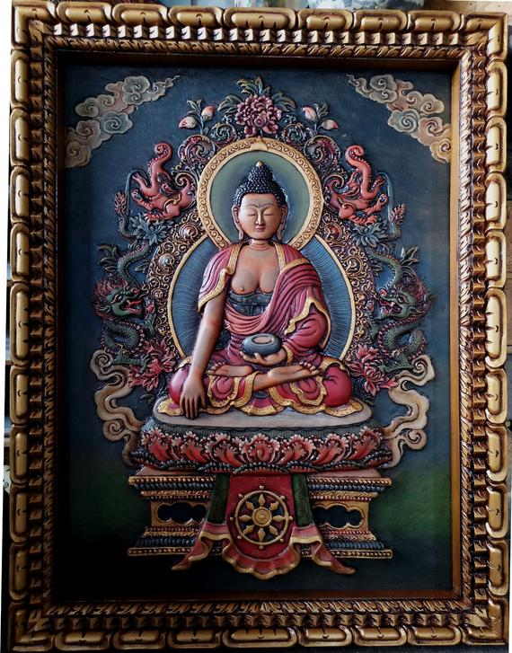 Wooden Carved Thangka of shakyamuni buddha