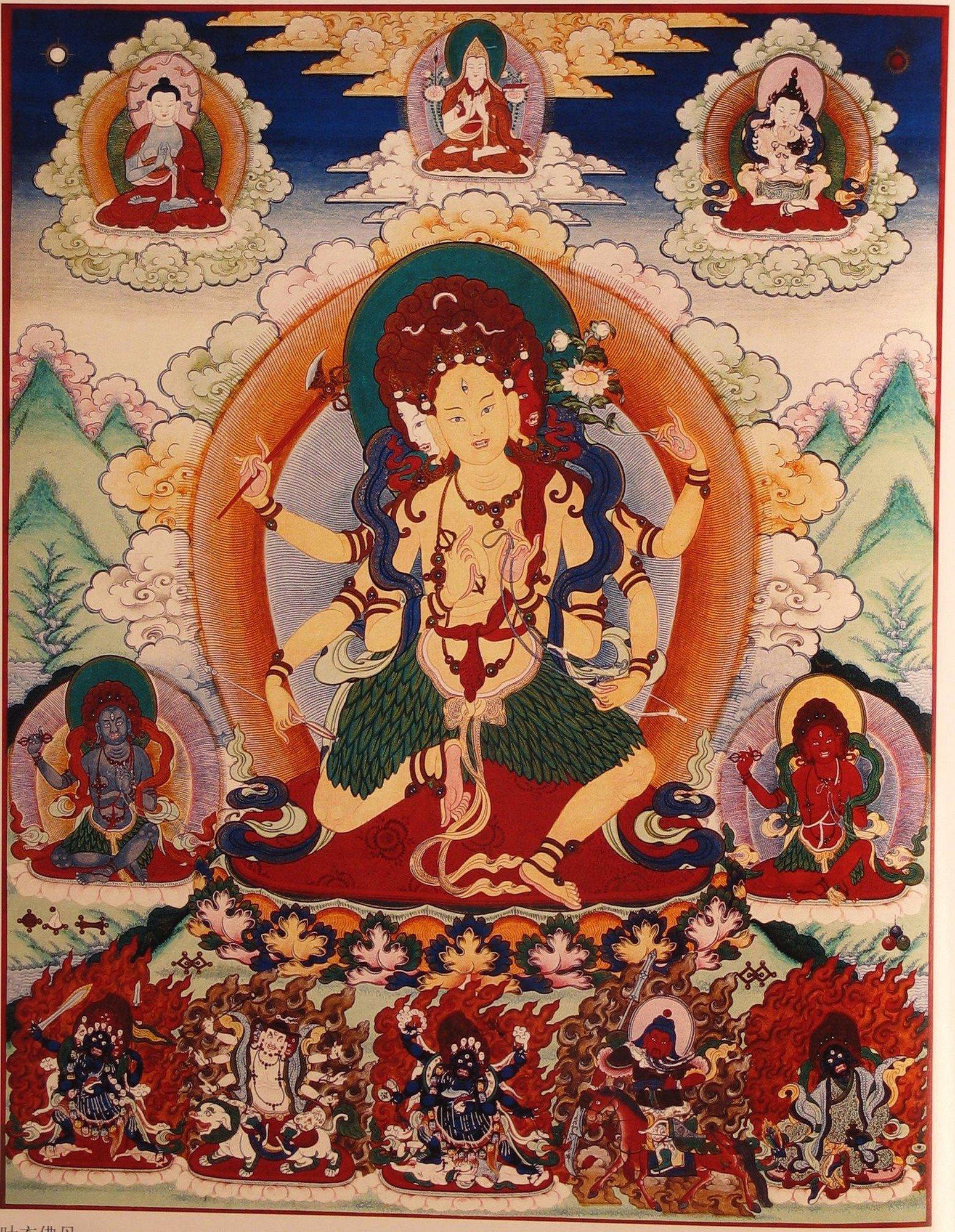 Parnashavari with Mahakala Thangka Painting