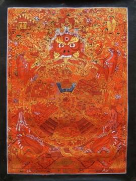 Red Wheel of Life Thangka Painting