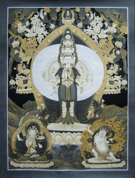 11 faced Avalokitesvara Newari Thangka