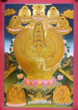 1000 Armed Avalokitesvara with 5 Dhyani Buddhas