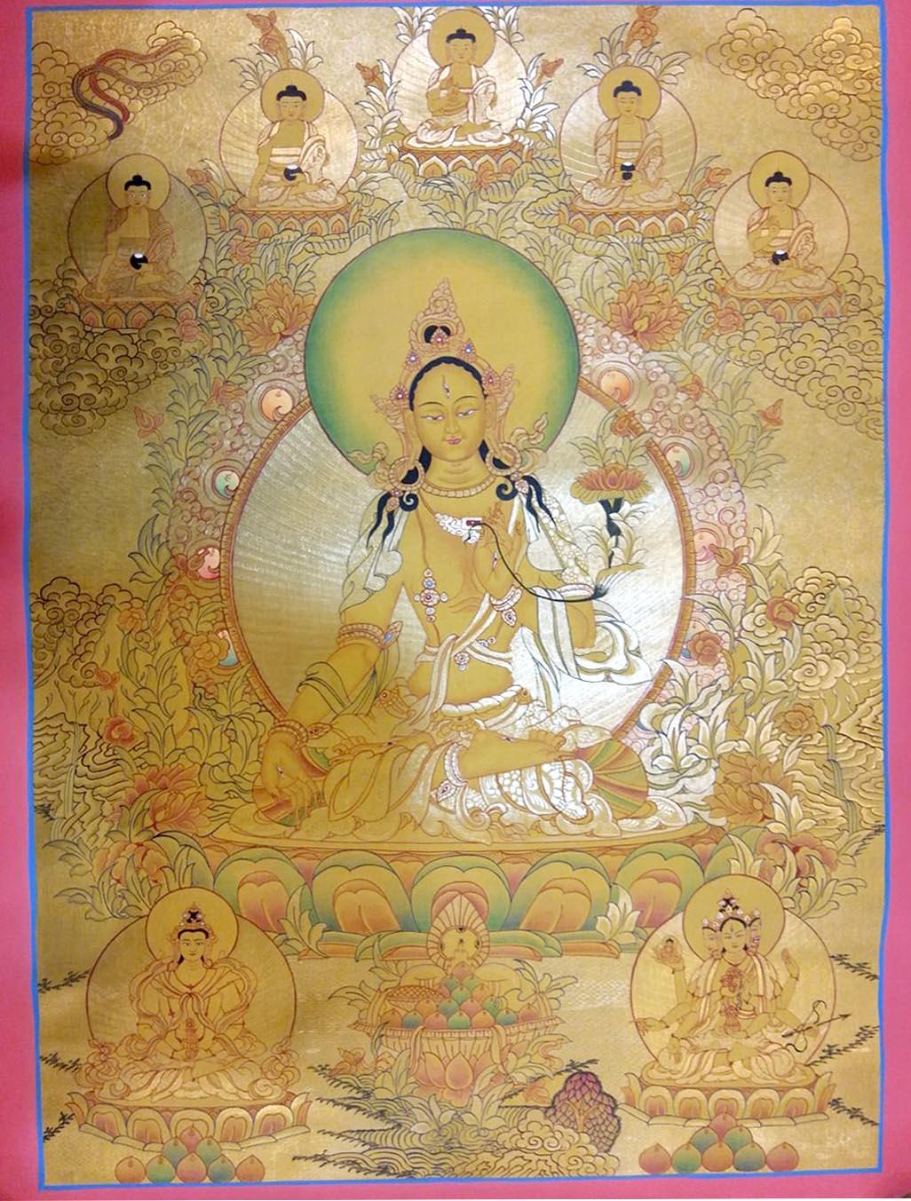 Golden White Tara with 5 Dhyani Buddha Thangka