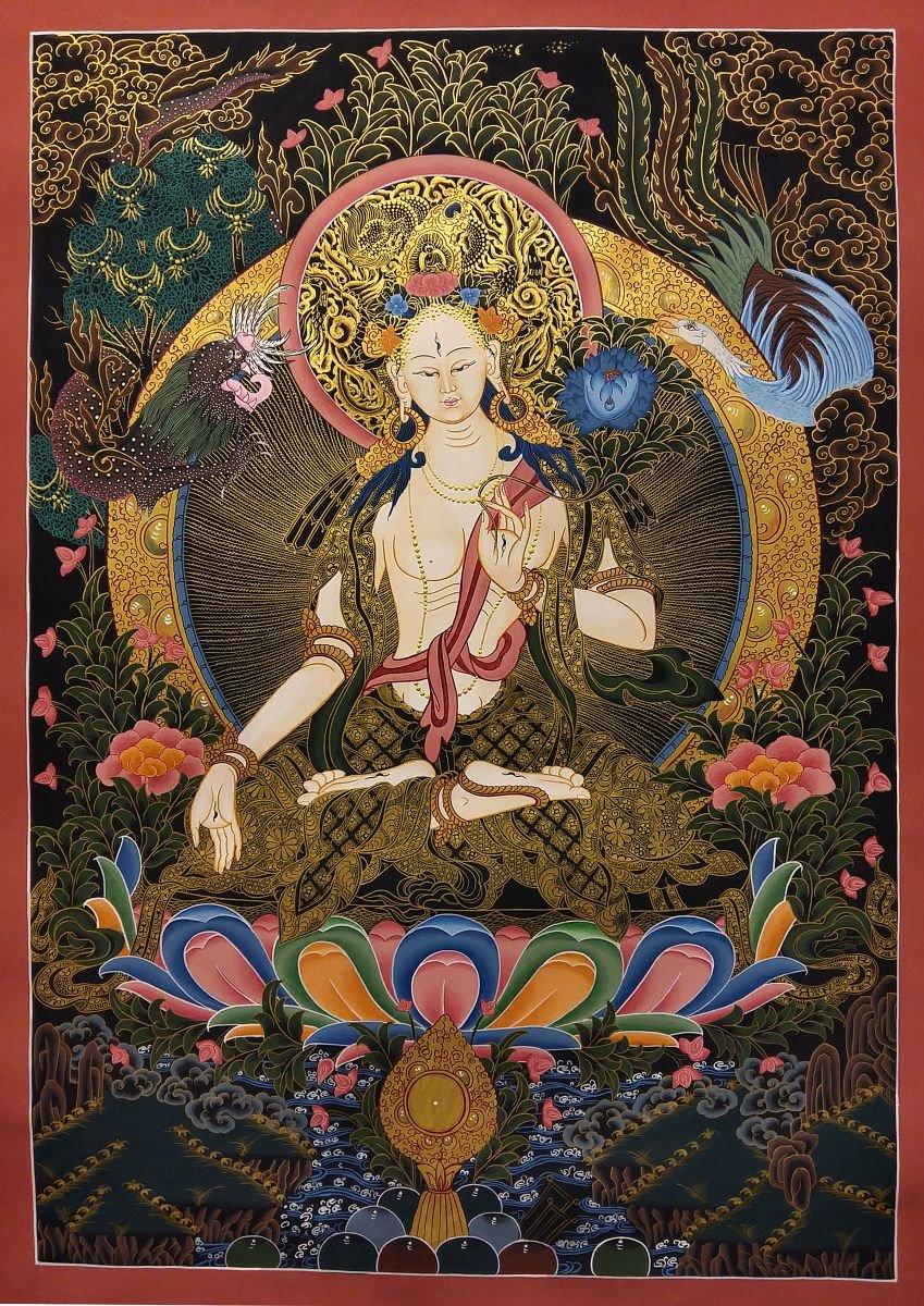Tibetan Thangka Painting of White tara