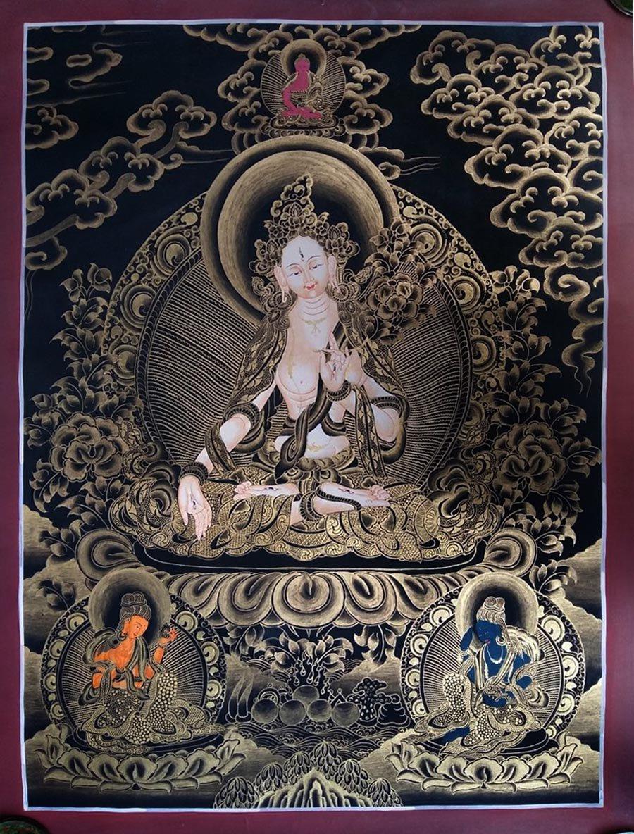 Golden and Black White Tara Thangka