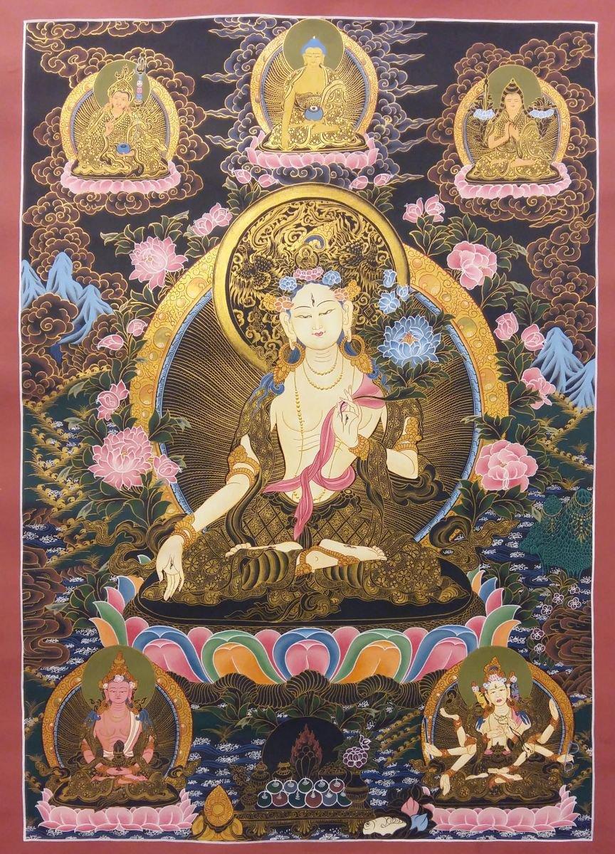 White Tara Thangka with Buddha