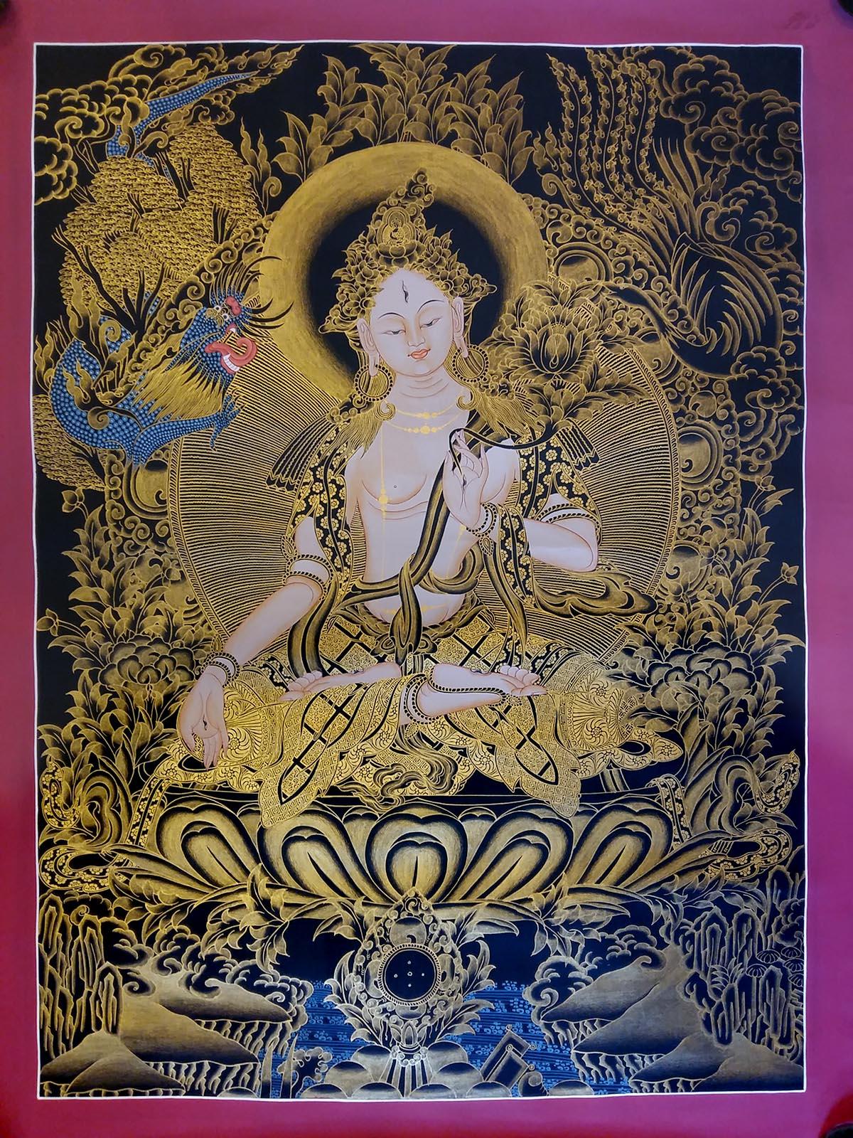 Black and Gold Sita Tara Tibetan Thangka