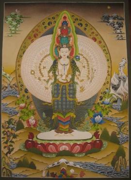 Sahasrabhuja Lokeshvara Tibetan Thangka