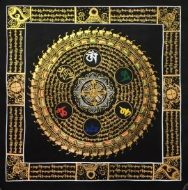 Traditional Mantra Mandala with Auspicious symbols