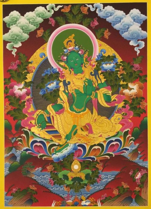 Ritual Green Tara Thangka