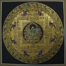 Black and Gold Green Tara Mandala