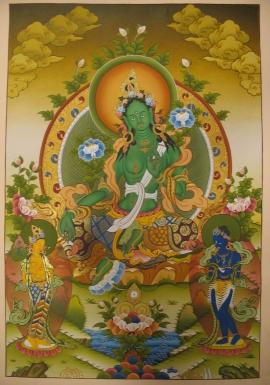 Tibetan Green Tara Ritual Thangka
