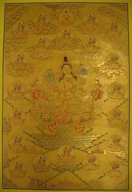 21 Green Taras Tibetan Thangka