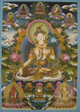 Tibetan Thangka of Goddess White Tara