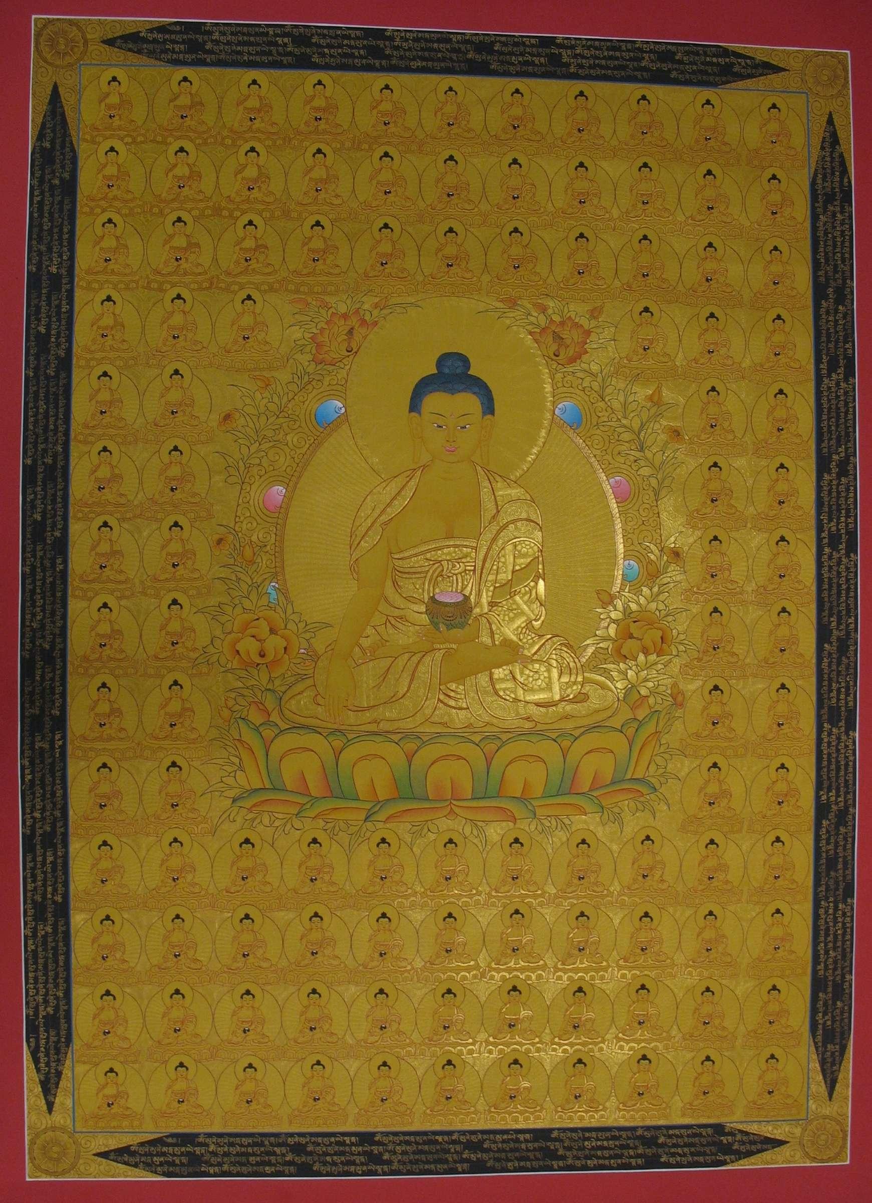 Tibetan Thangka of 108 Shakyamuni Buddha
