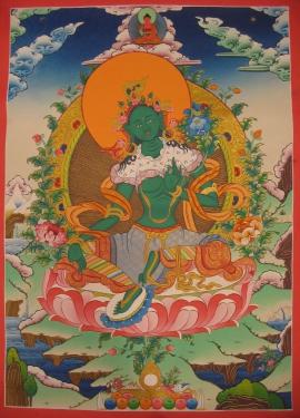 Green Tara Thangka with Amitabha Buddha