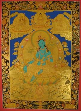 Tibetan Traditional Green Tara Thangka