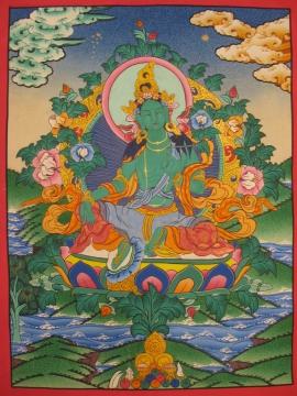 Tibetan Traditional Thangka of Green Tara