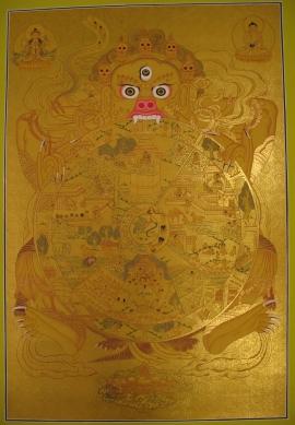 Golden Wheel of Life Traditional Thangka