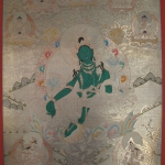 Tibetan Thangka of Green Tara with 5 Dhyani Buddha