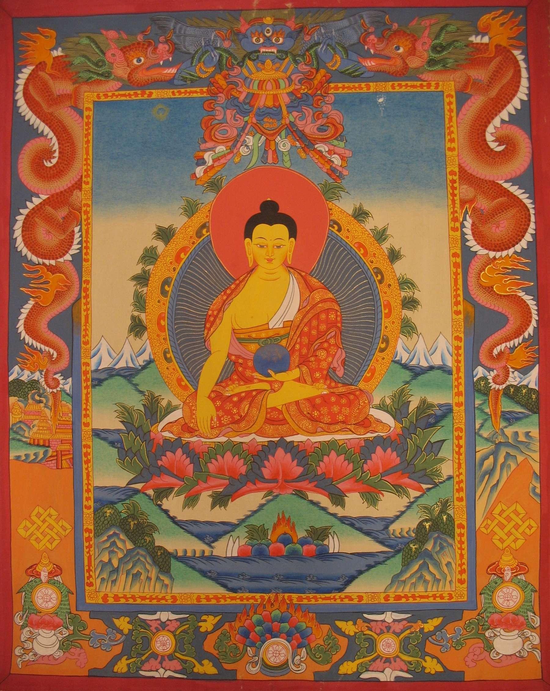 Shakyamuni Buddha Thangka with Dragon