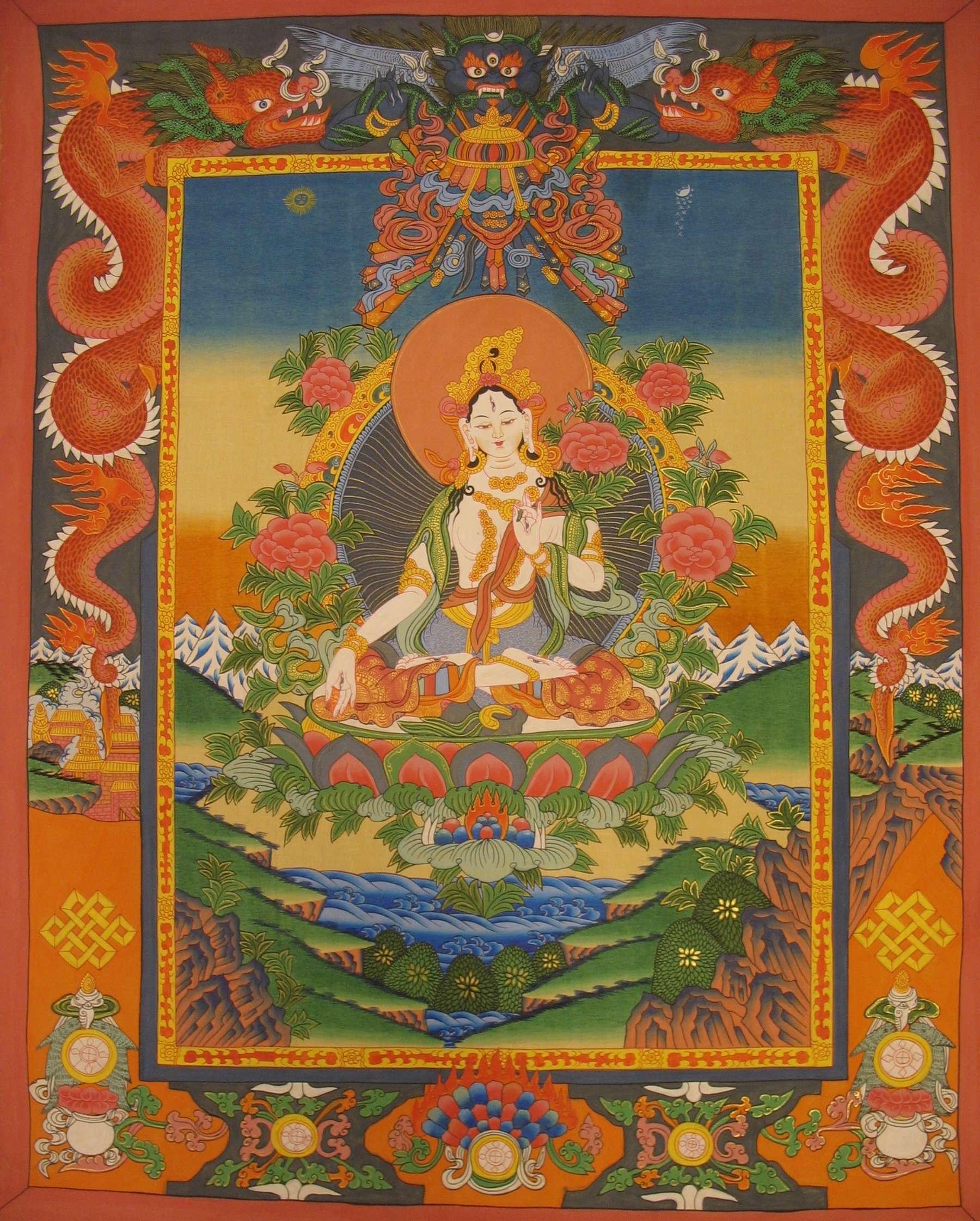 White Tara Thangka with Dragon