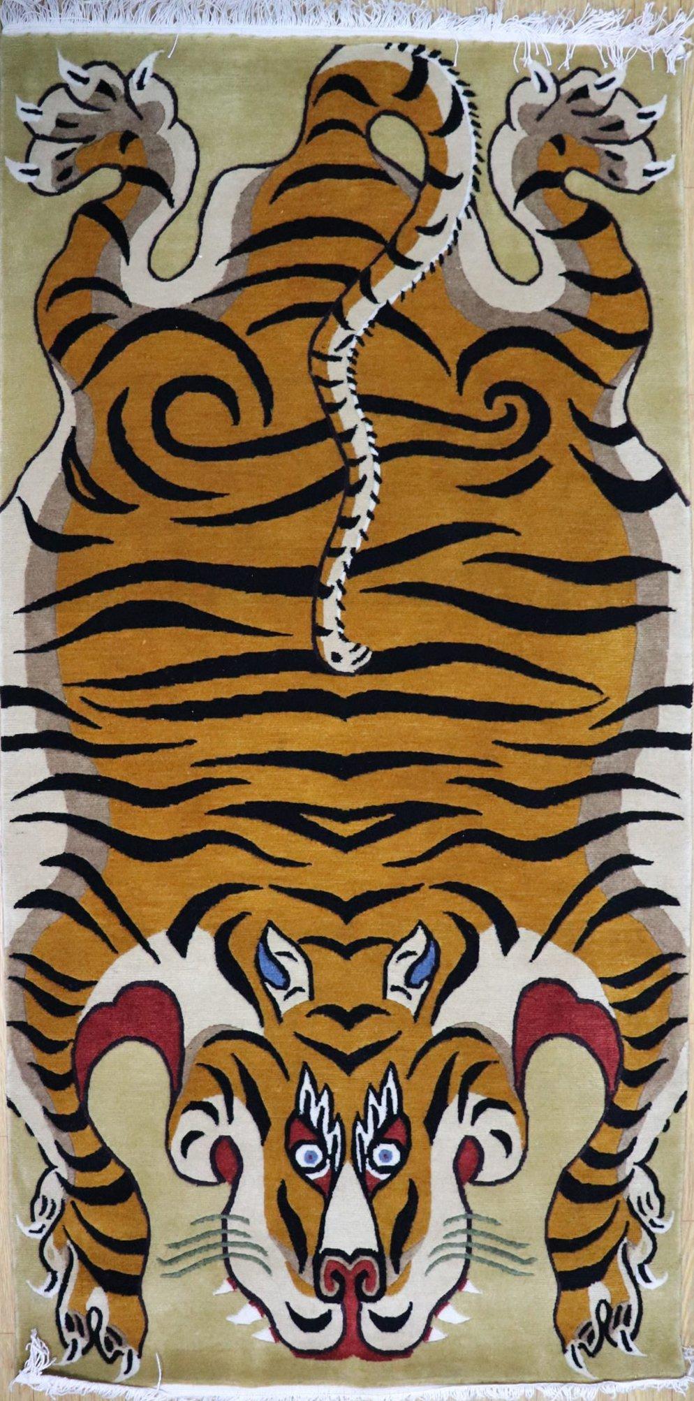 Hand knotted Tiger Carpet (Beige)