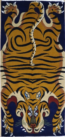 Hand knotted Tiger Carpet with Blue background