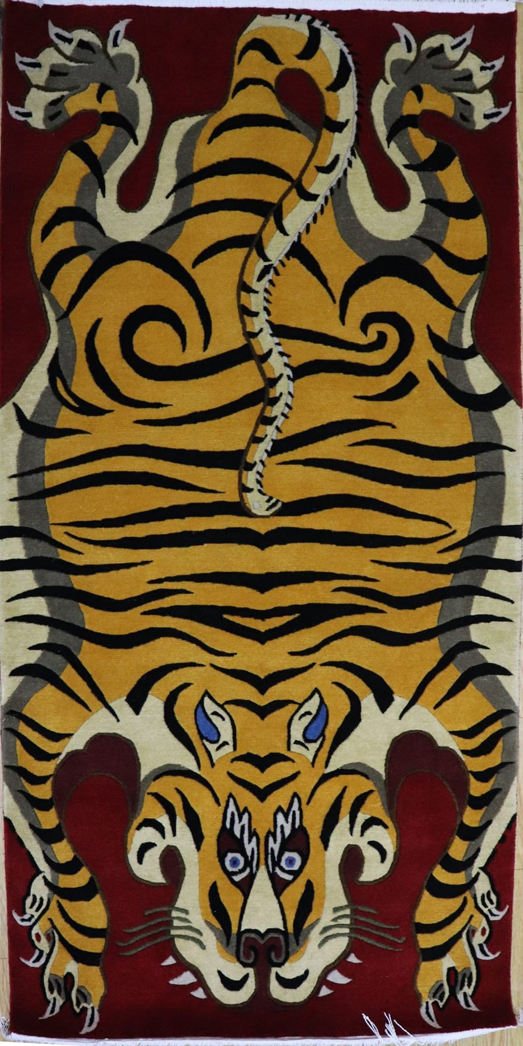Hand knotted Tibetan Tiger Carpet (Red)