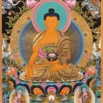 Shakyamuni Buddha together with Shariputra and Maudgalyayana Thangka