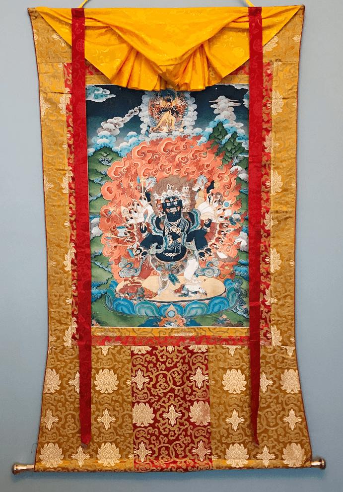 virudhaka Thangka with silk frame
