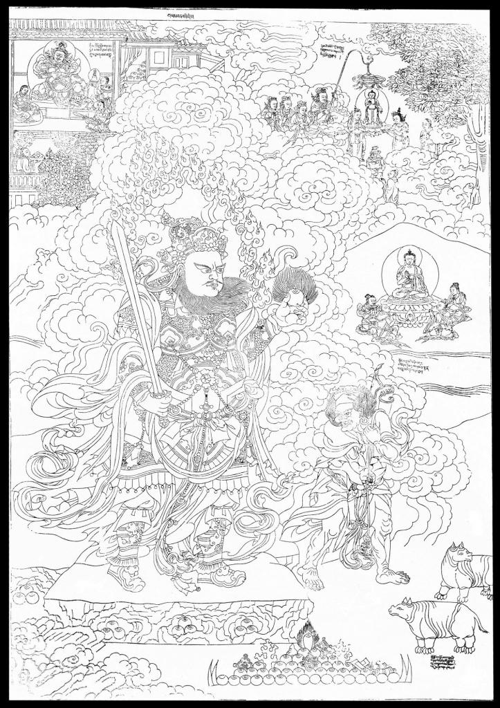 Virudhaka Thangka Sketch on Paper