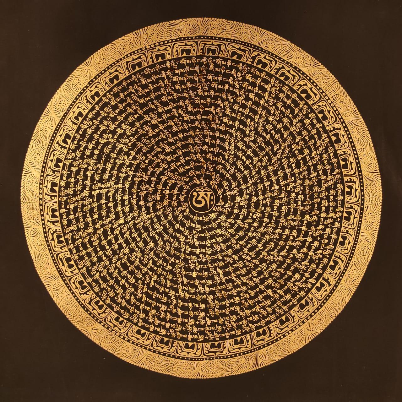 Mantra Mandala with black Background