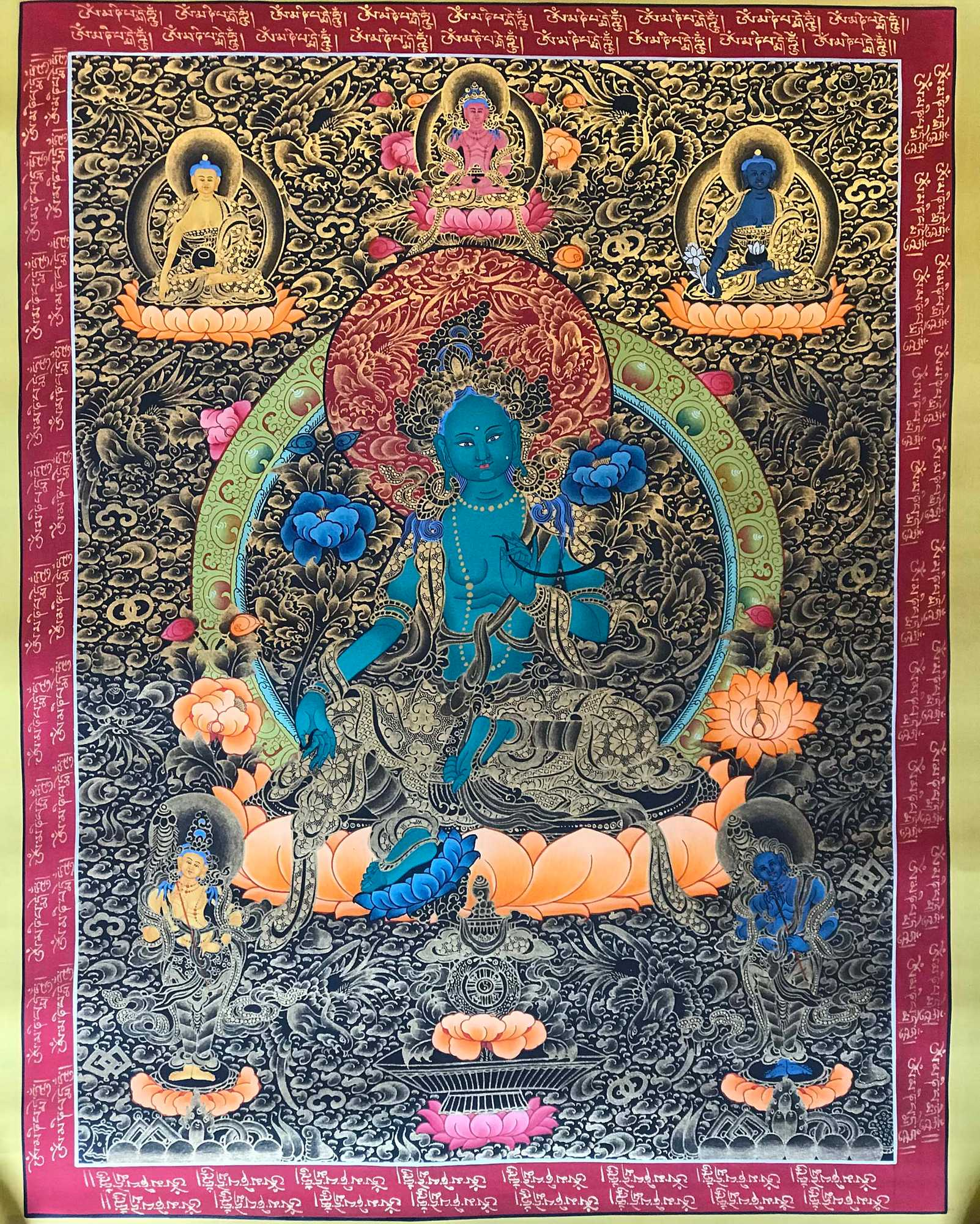 Blue Tara Thangka Painting
