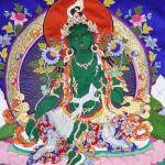 Green Tara Applique Thangka