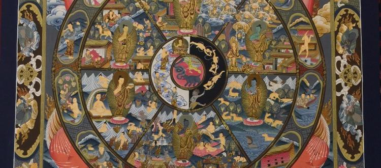 Hand-Painted Bhavachakra Wheel of Life Tibetan Thangka Art